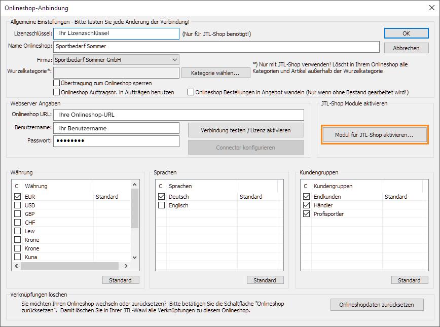 Webshopmodul im Warenwirtschaftssystem aktivieren