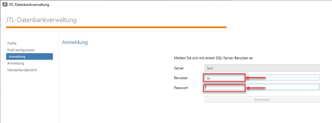 SQL Profil Anmelden